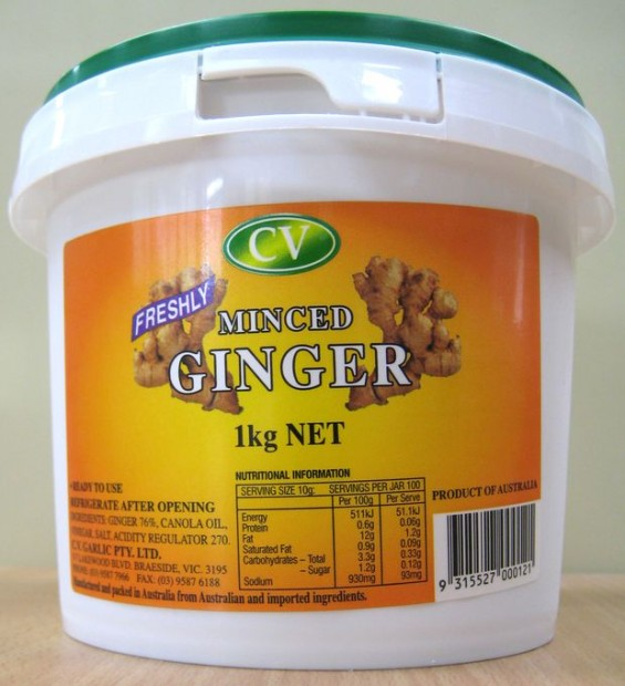 CV Garlic Freshly Minced Ginger 1kg Container